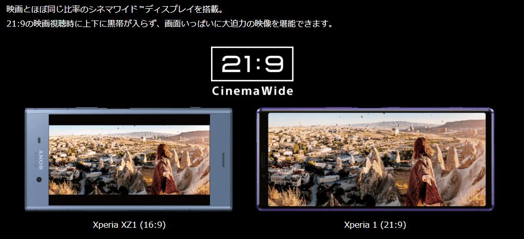 Xperia1の21:9ディスプレイをXperia XZ1と比較