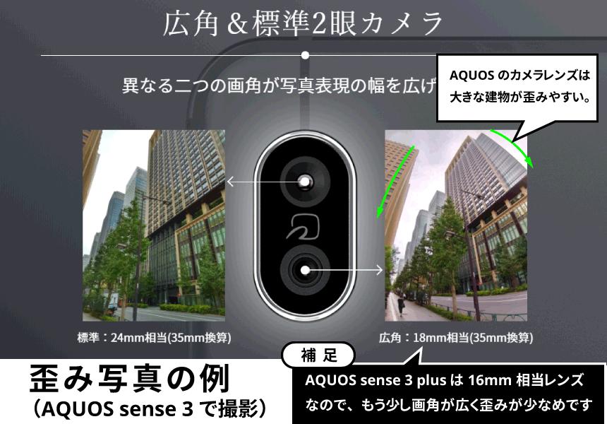 AQUOS sense 3 plusカメラ歪み