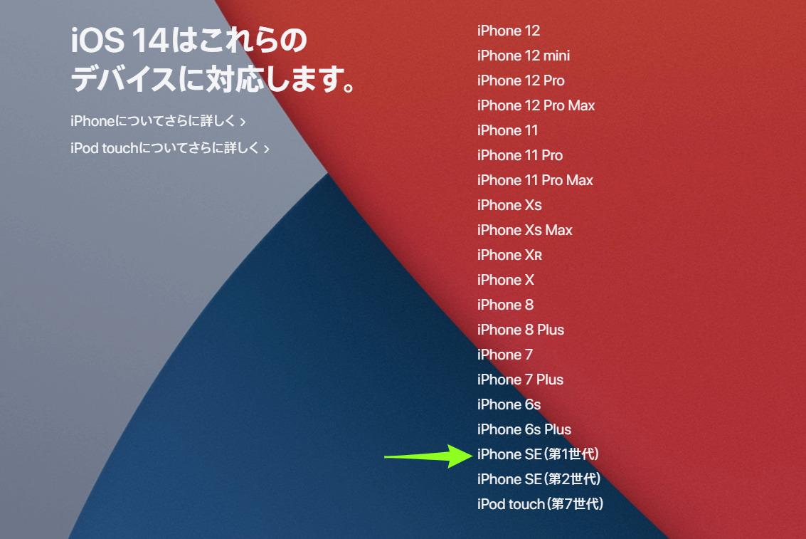 iPhone iOS14対応機種一覧