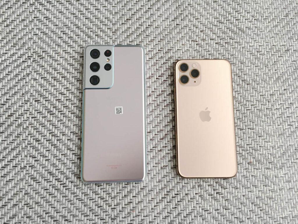Galaxy S21 UltraファントムシルバーとiPhone 11 proゴールド