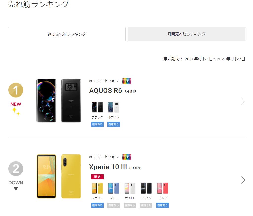 2021年6月ドコモオンラインショップ売上ランキング